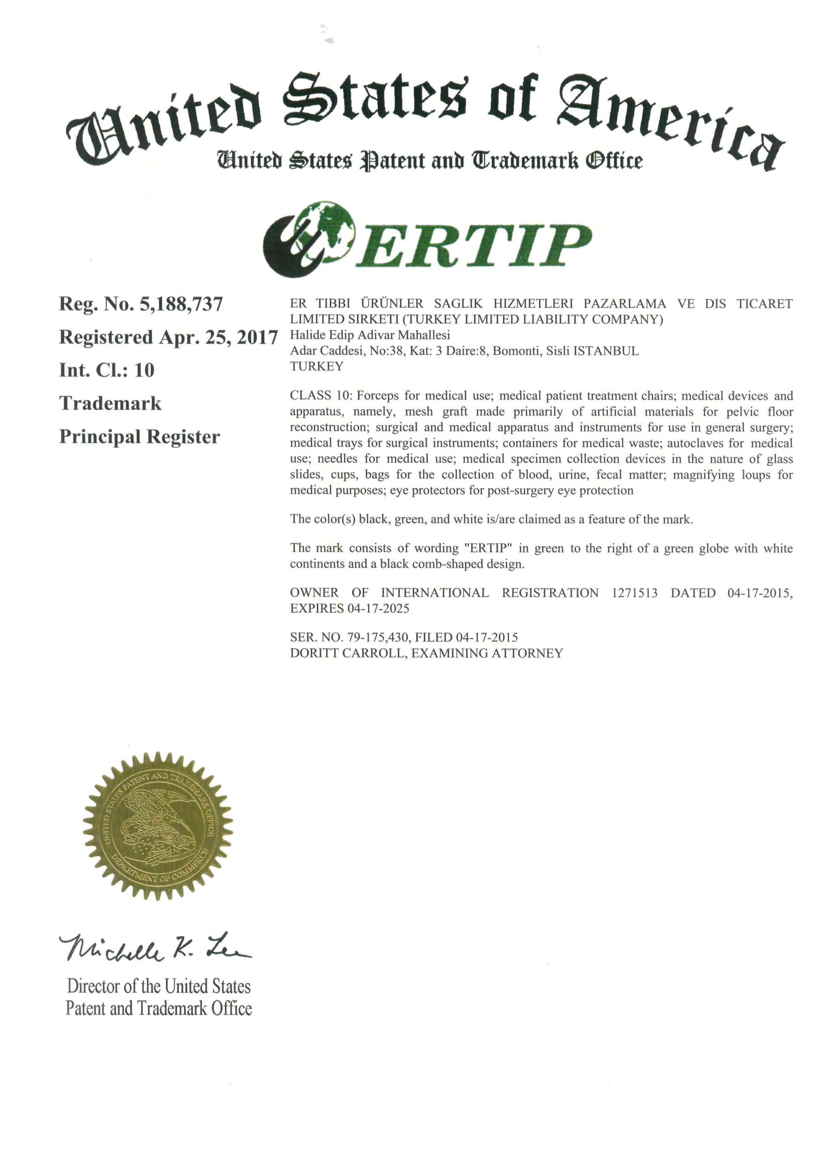 USA Trademark Registration Certificate