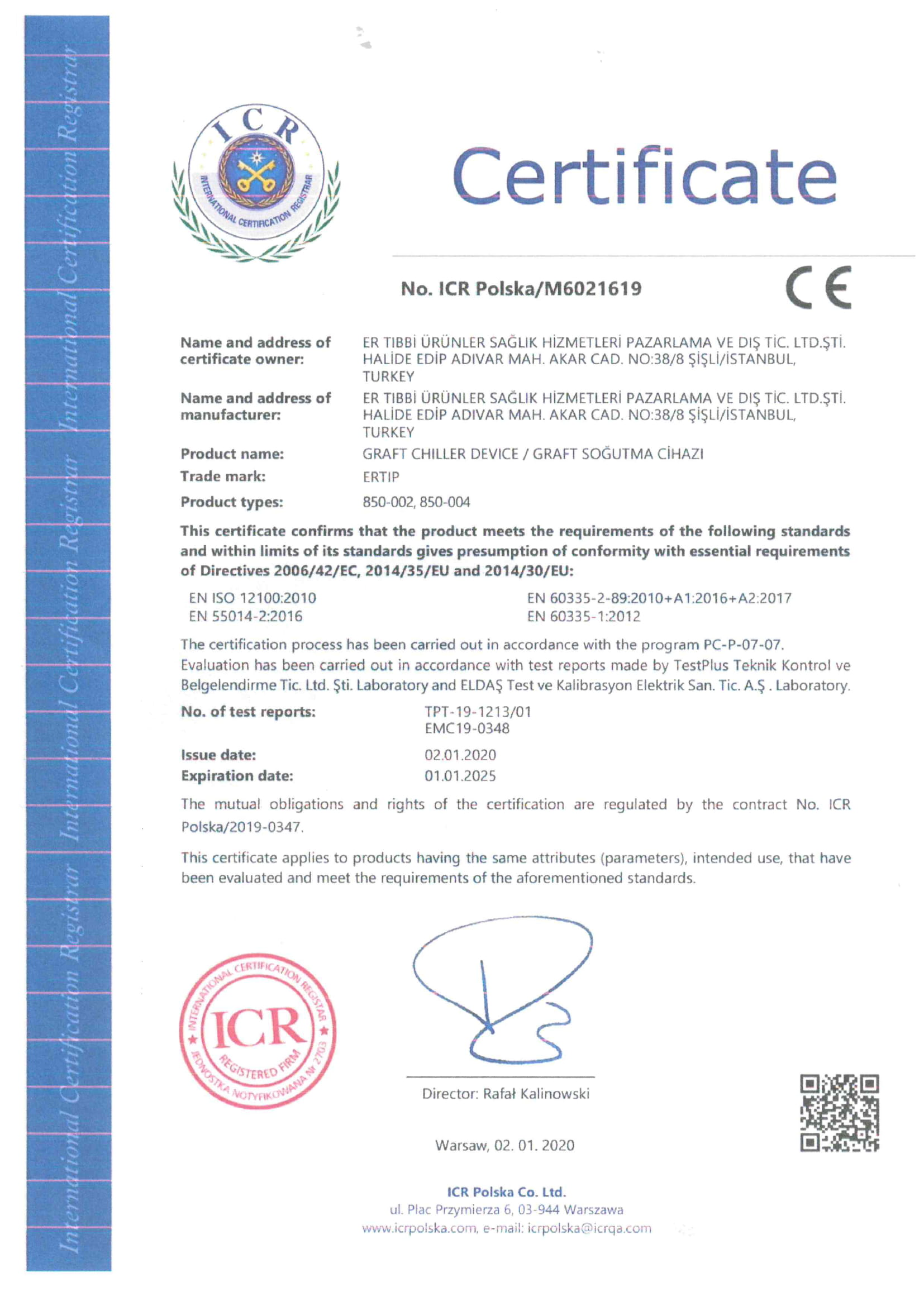 Graft Cooler CE Certificate