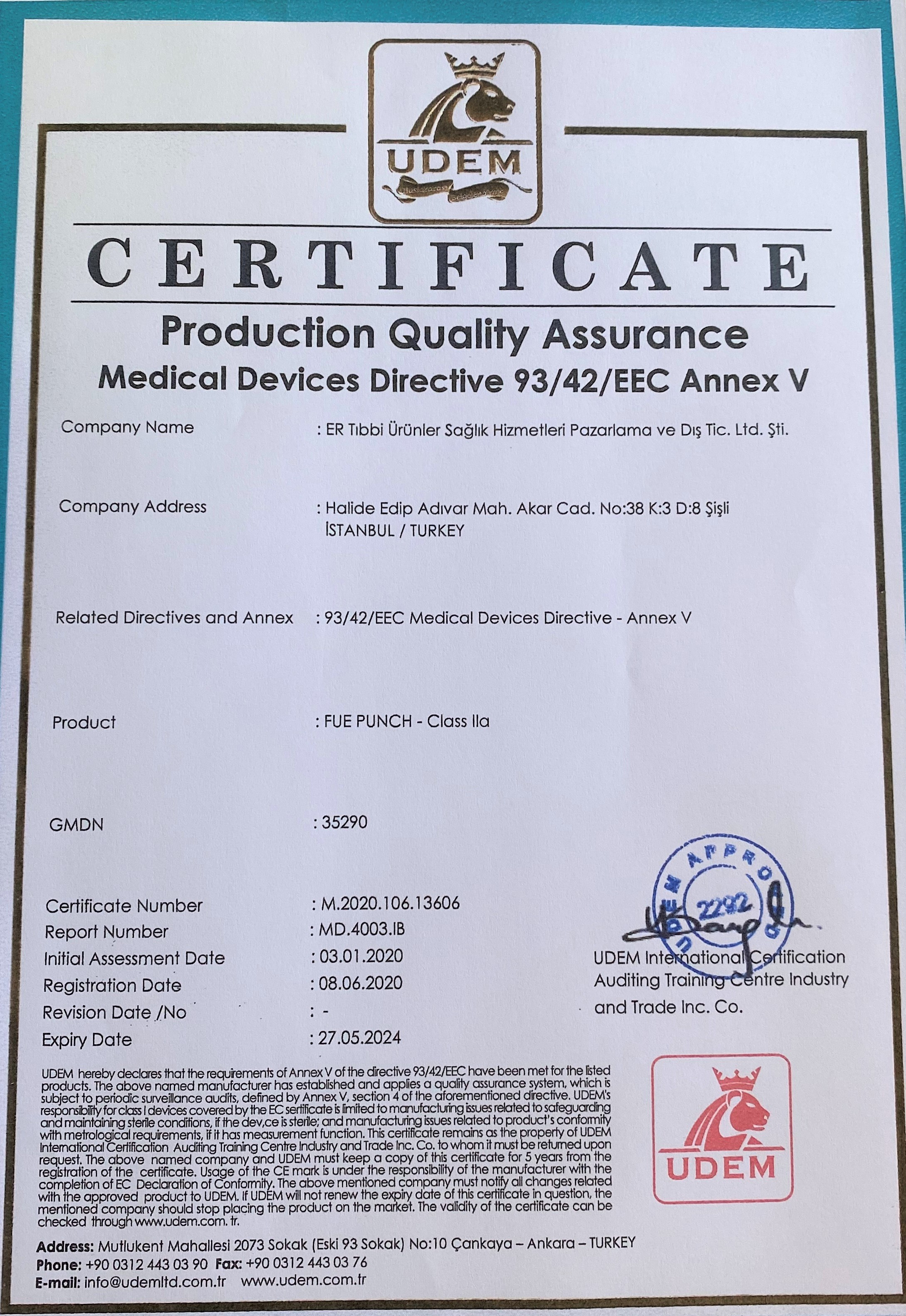 ERTIP Fue Punch CE Certificate English