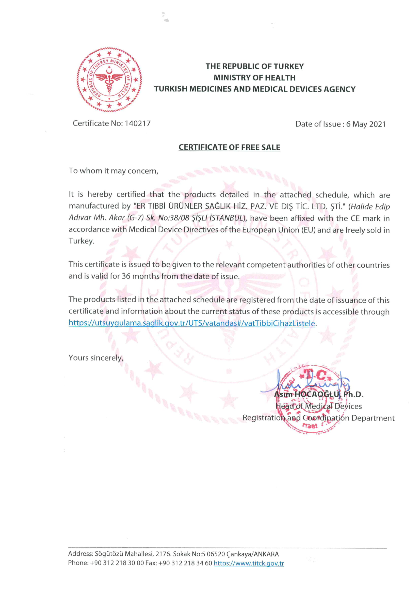 Certificate of Free Sale