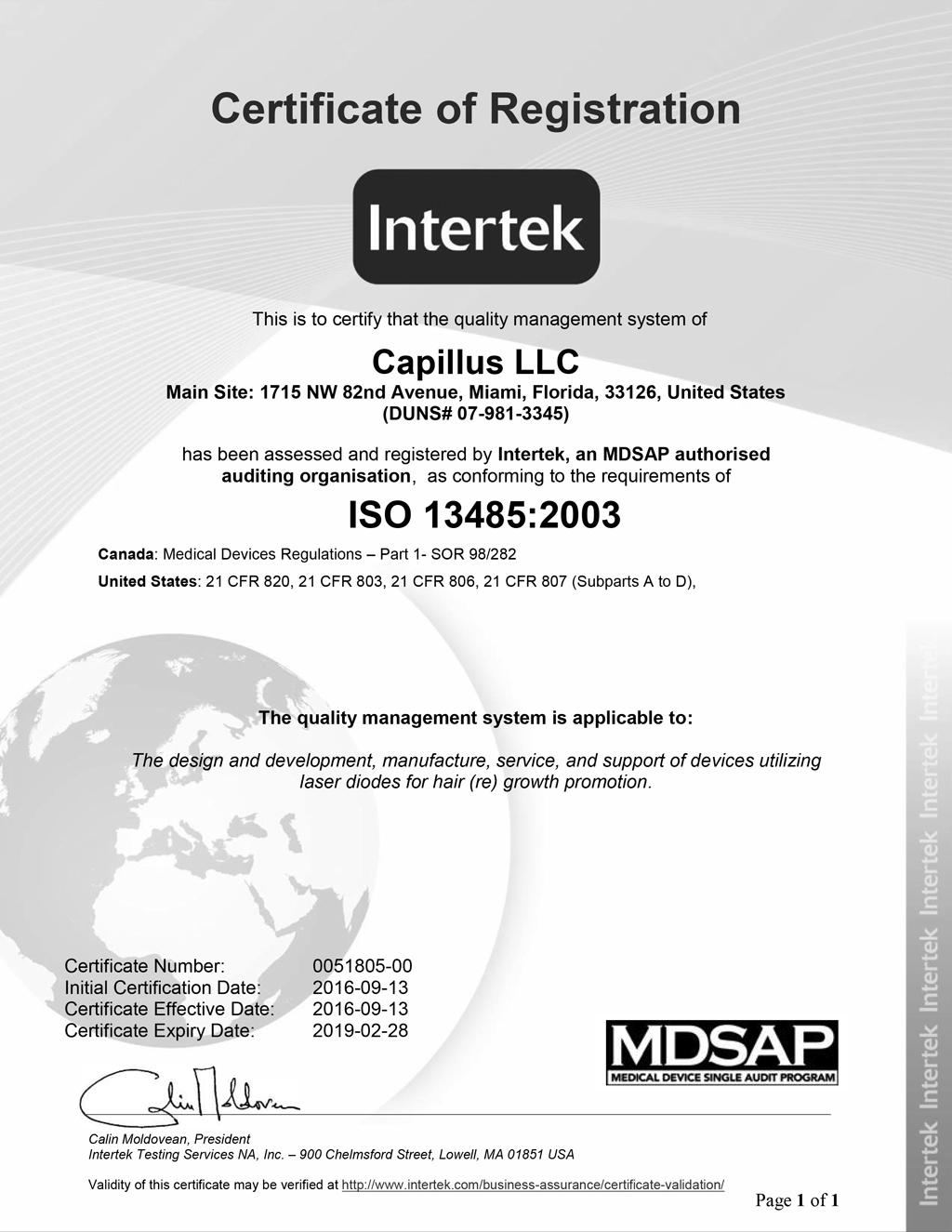 ISO 13485 - Capillus LLC