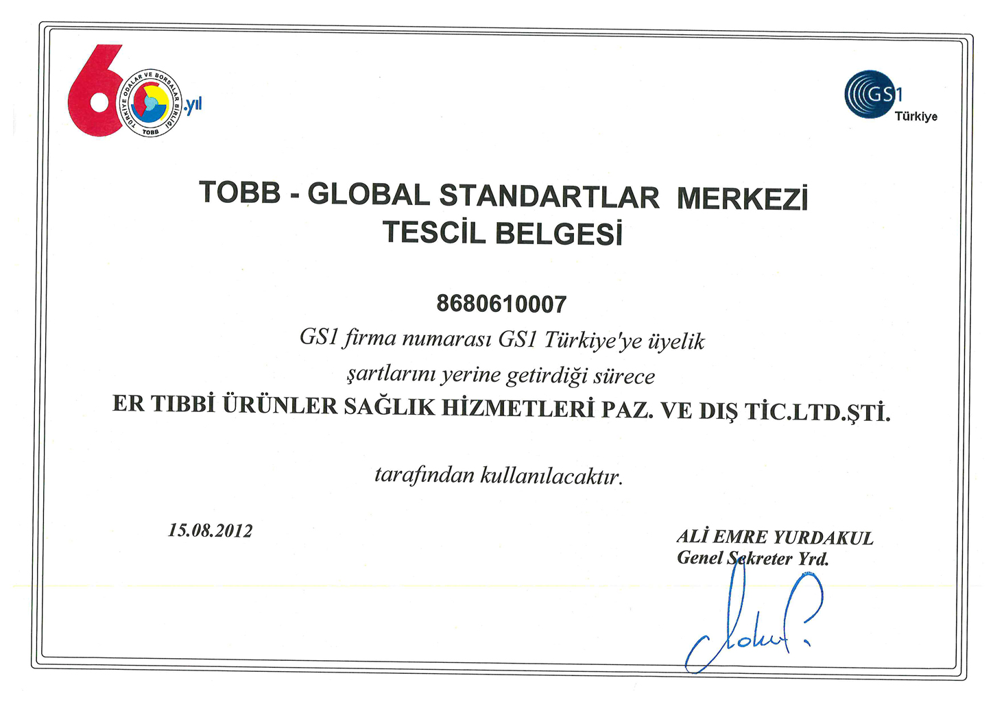 TOBB Registration Certificate
