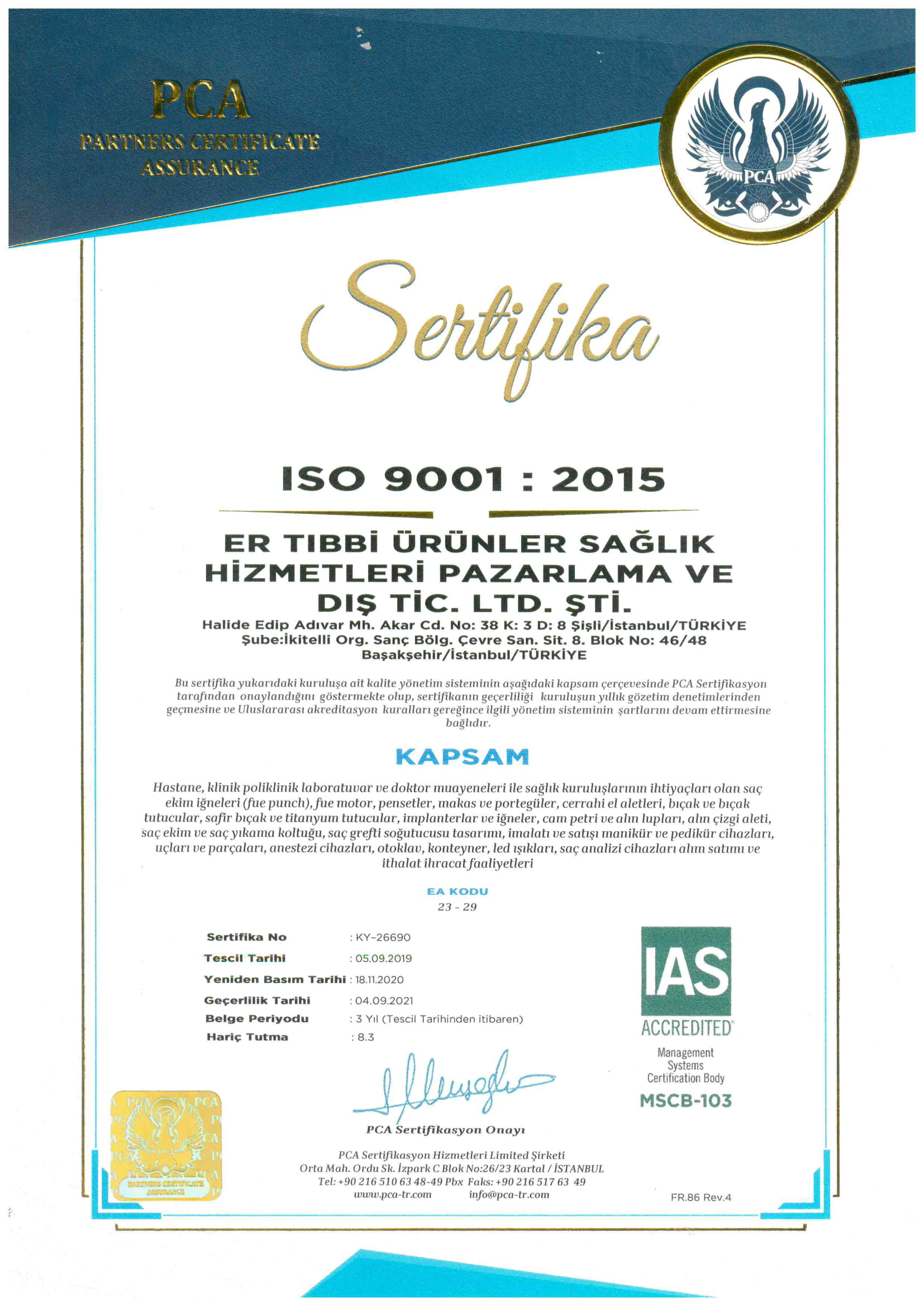 ISO 9001 Turkish