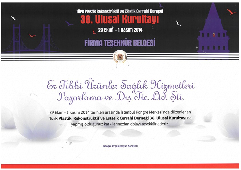 Turkish Society of Plastic Reconstructive and Aesthetic  Surgeons 36. National Congress 29 October 1