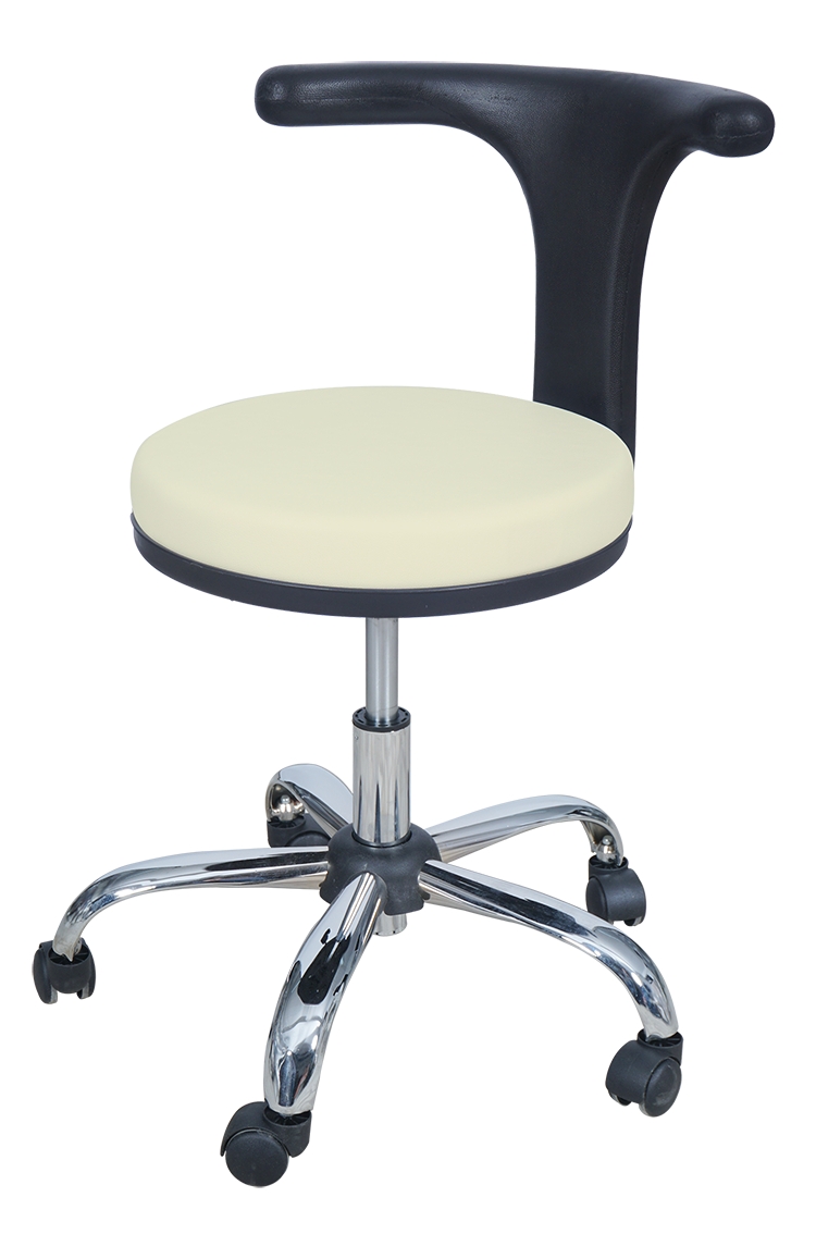 Medical Doctor Stool with T Shaped Backrest (Beige)