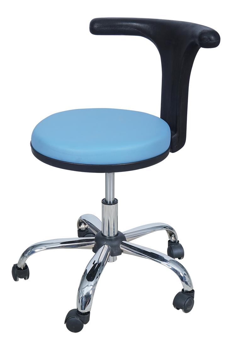 Medical Doctor Stool with T Shaped Backrest (Blue)