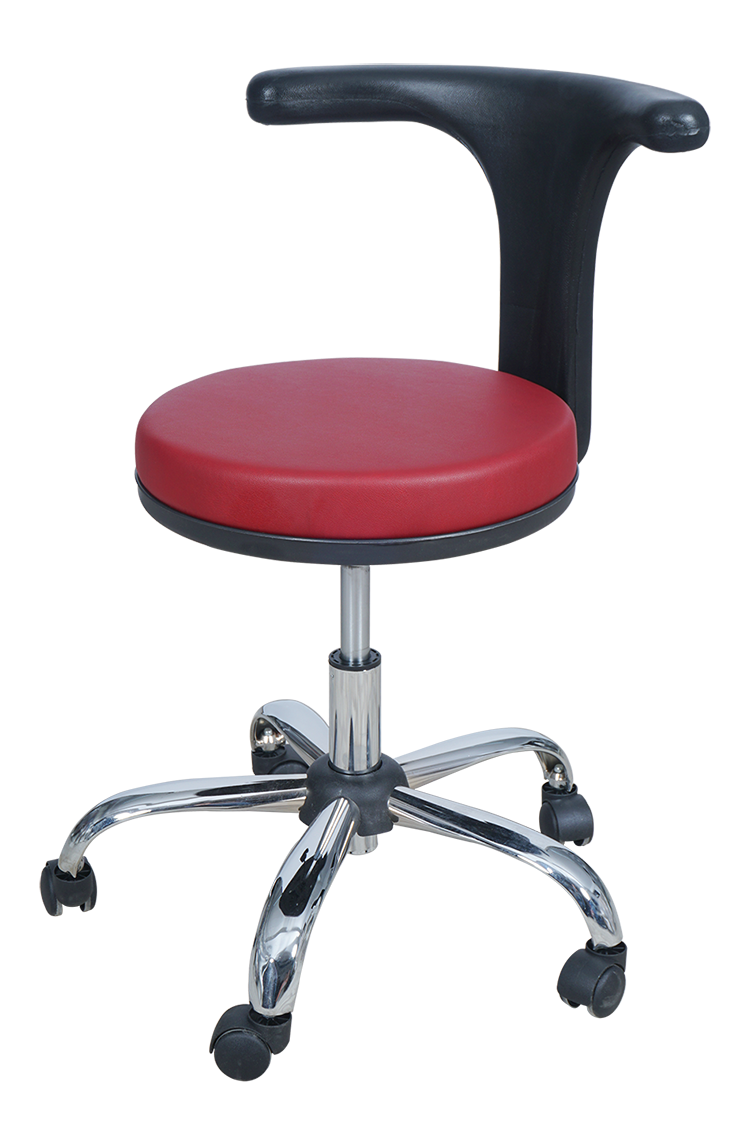 Medical Doctor Stool with T Shaped Backrest (Claret Red)