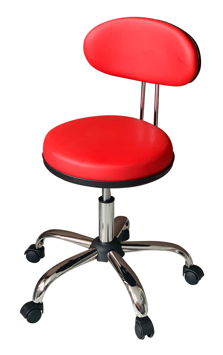 Medical Stool with Oval Backrest ( Claret Red)