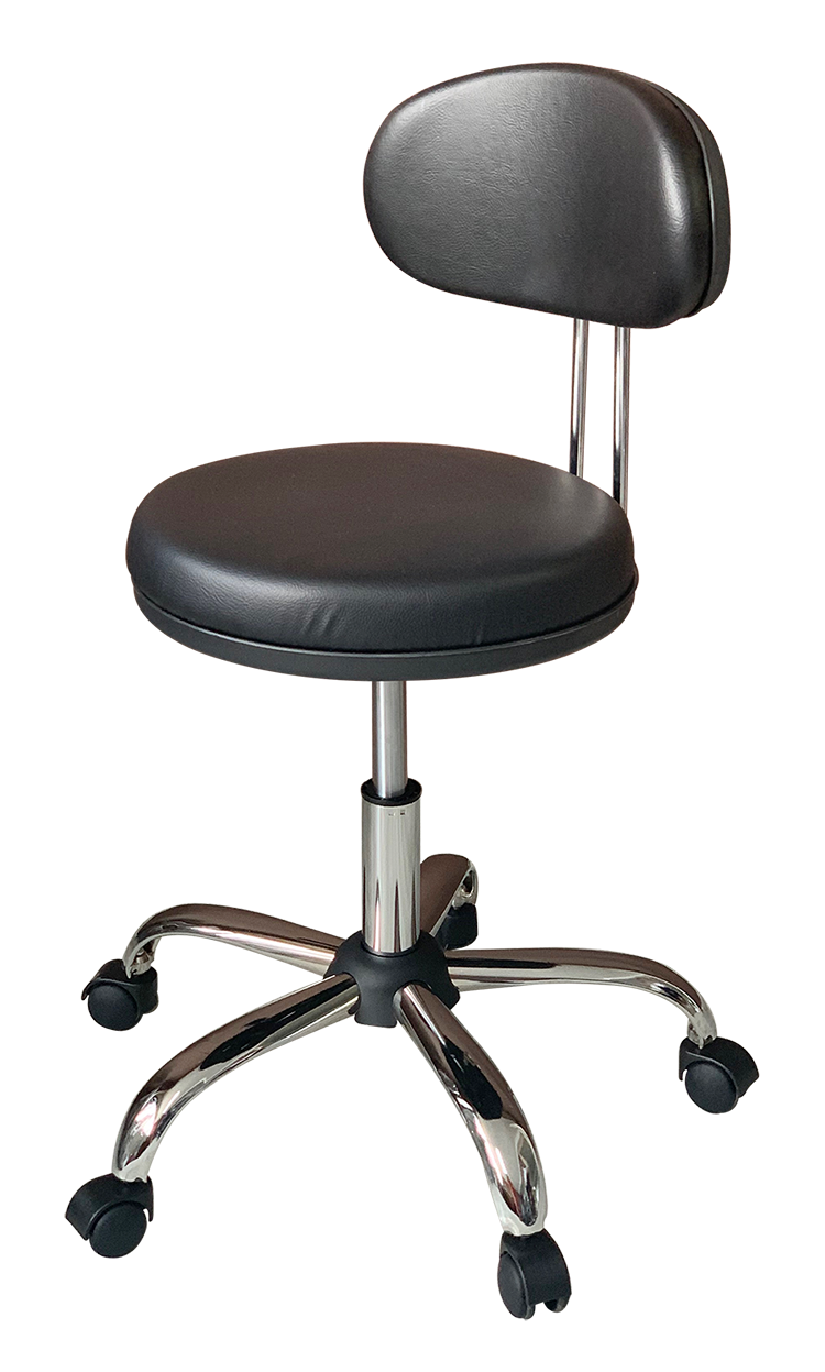 Medical Stool with Oval Backrest (Black)