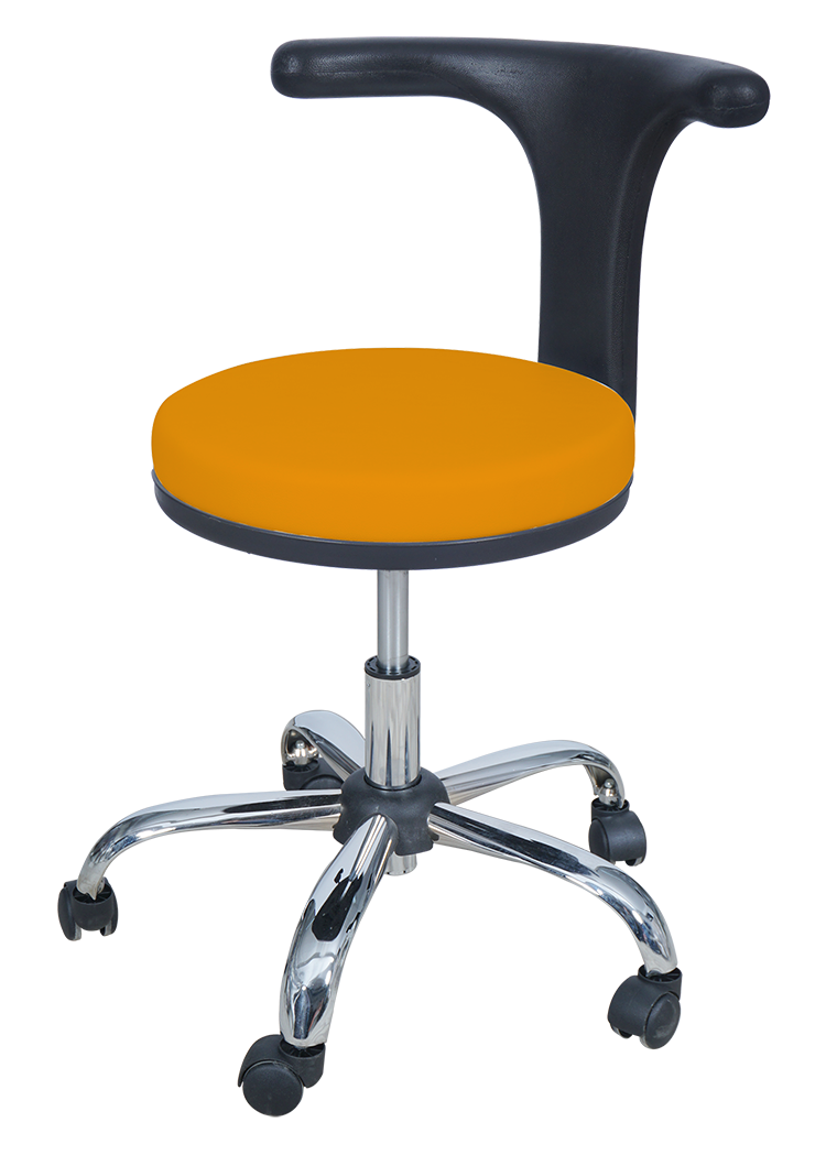 Medical Doctor Stool with T Shaped Backrest (Orange)