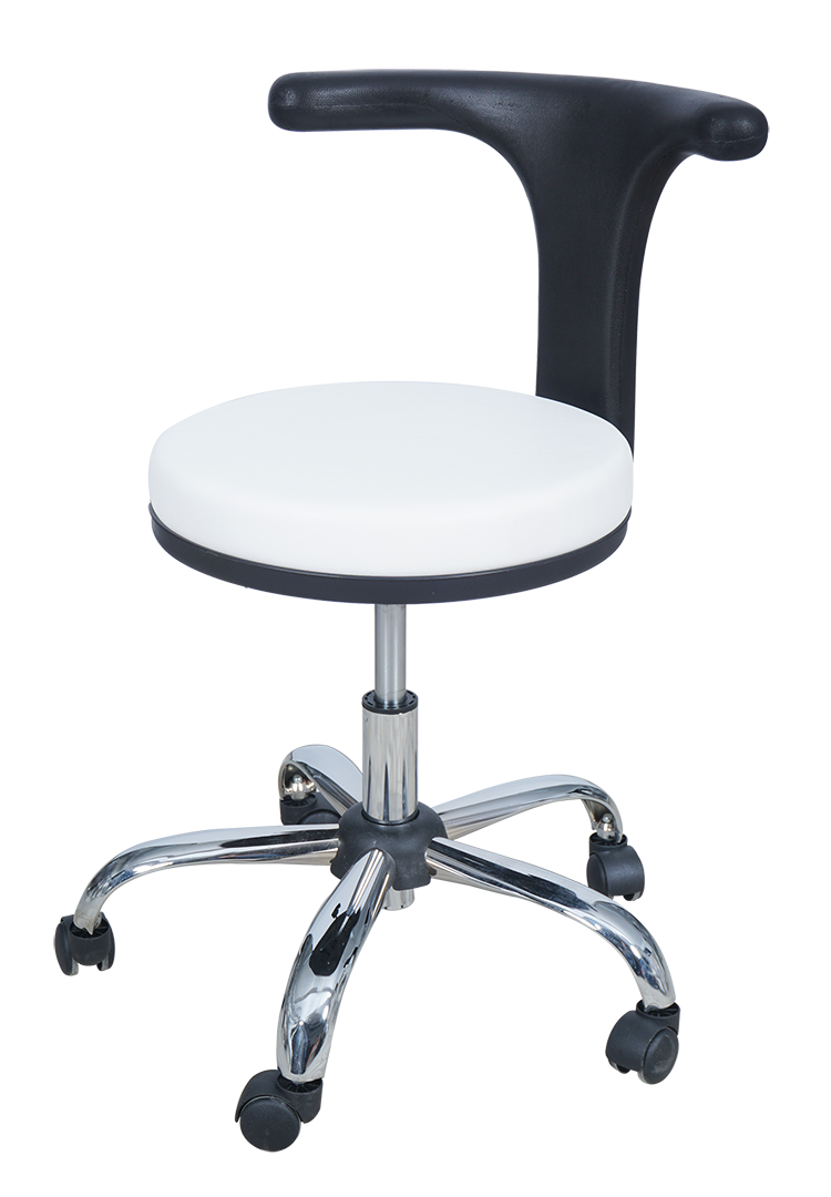 Medical Doctor Stool with T Shaped Backrest (White)
