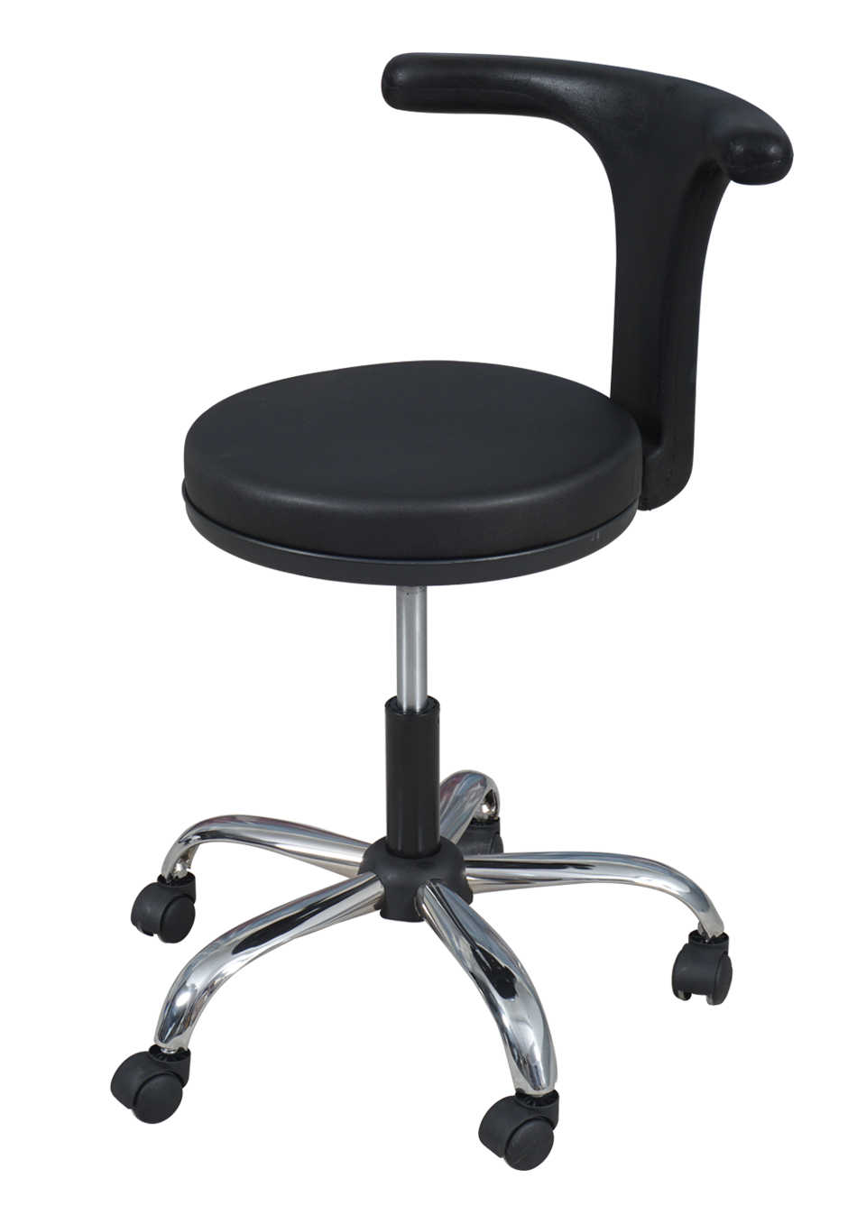 Medical Doctor Stool with T Shaped Backrest (Black)