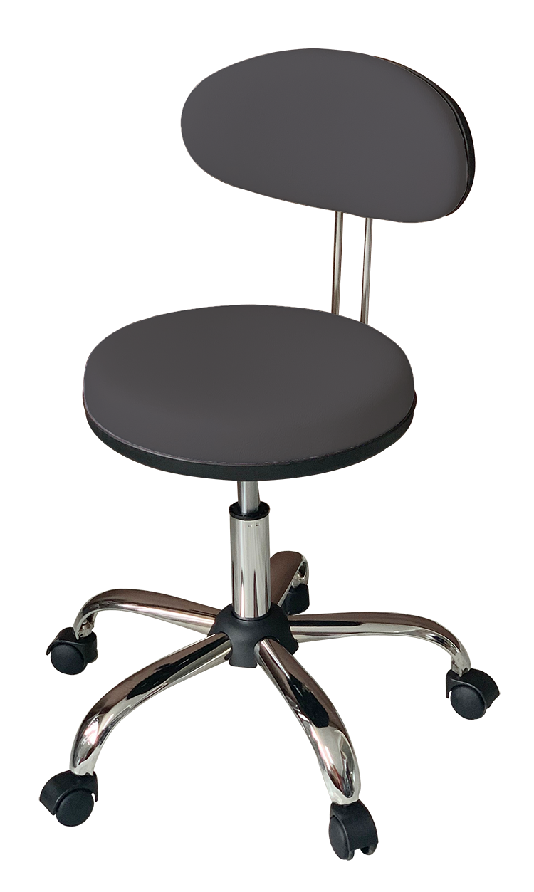 Medical Stool with Oval Backrest ( Dark Grey)