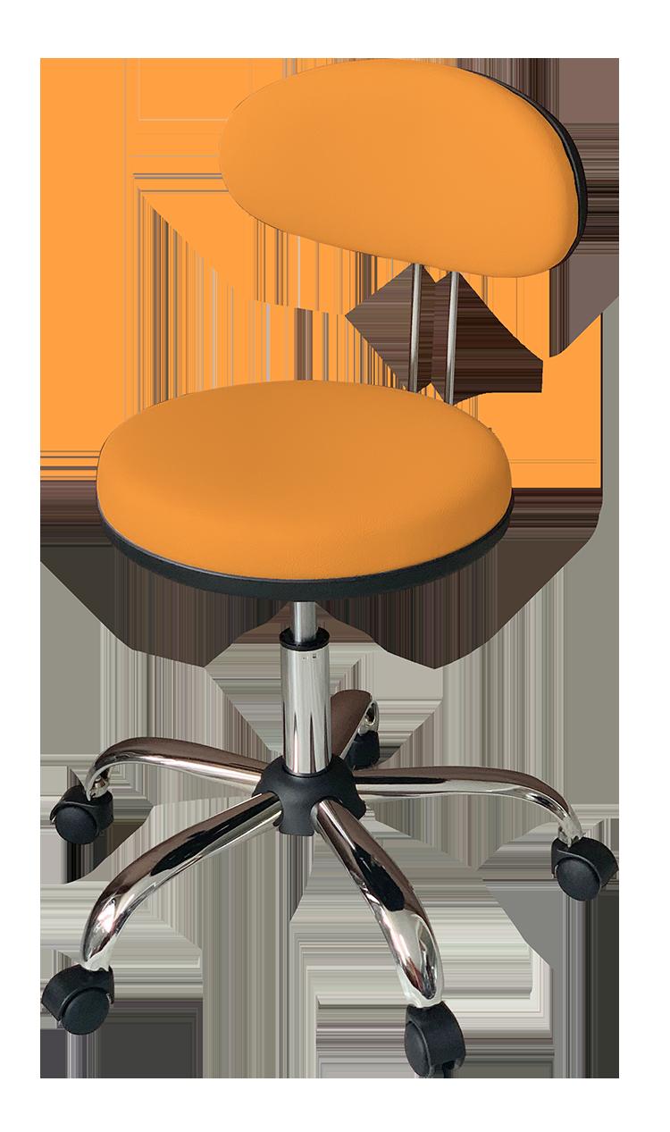 Medical Stool with Oval Backrest (Orange)